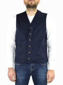 STRETCH COTTON VEST WITH SIX BUTTONS
