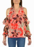 BLOUSE WITH FLORAL FANTASY AND PAILLETTES Aureliano