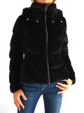 HOODED VELVET DOWN JACKET