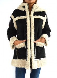 FAUX SHEARLING REVERSIBLE COAT