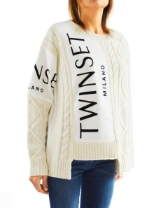 CABLE KNIT JUMPER WITH INLAYS AND LOGO