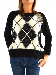 BOXI JUMPER WITH DIAMOND PATTERNED INLAYS AND EMBROIDERY