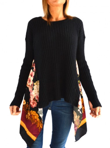 MOHAIR AND PRINTED TWIL JUMPER