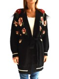 MAXI CARDIGAN WITH FLOL JACQUARD AND EMBROIDERY