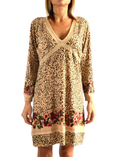 KNIT DRESS WITH ANIMAL AND FLORAL PRINT