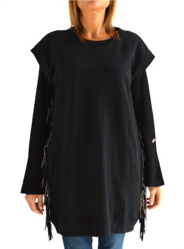 MAXI SWEATSHIRT WITH FRINGES AND MICRO STUDS