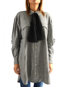 MICRO HOUNDSTOOTH LONG SHIRT