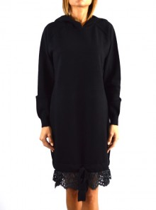 HOODED DRESS LACE FLOUNCE