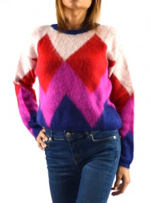 JACQUARD CREW-NECK JUMPER WITH RHOMBUS