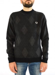 TONAL ARGYLE CREW NECK JUMPER