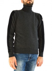 TWO-TONE WOOL NECK JUMPER