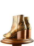 LEATHER ANKLE BOOTS WITH ANIMAL PRINT