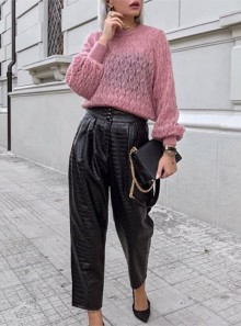 FAUX LEATHER PANTS WITH CROCODILE PRINT