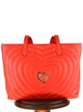 FAUX LEATHER SHOPPING BAG WITH QUILTED HEARTS