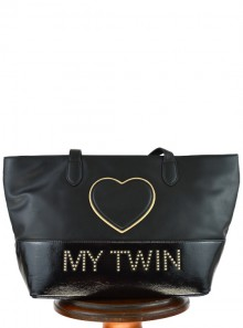 FAUX LEATHER SHOPPER HEART BAG WITH LOGO AND STUDS