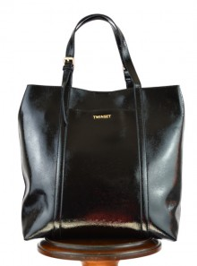 FAUX PATENT LEATHER SHOPPING BAG