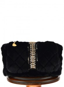 SIMIL FUR SHOULDER BAG WITH JEWEL STONES