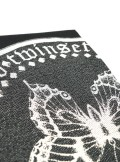 SCARF WITH MAXI BUTTERFLY PRINT AND LACE-UP EDGES