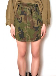 SHORT CAMOUFLAGE SKIRT WITH BELT