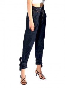 """ANGY"" JEANS PANTS WITH BELT AND TAPES ON THE ANKLES"