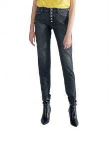 "HIGH WAIST ""PIPER"" JEANS PANTS WITH BUTTONS"