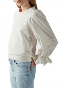 SWEATER WITH SANGALLO LACE SLEEVES