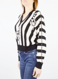 PRINTED BOXY JUMPER WITH EMBROIDERY