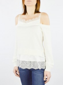 KNIT JUMPER WITH SLIP EFFECT SATIN