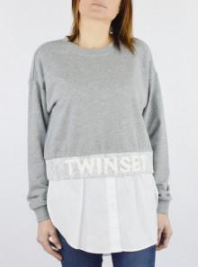 TWINSET Milano FELPA EFFETTO CAMICIA CON LOGO - 201TP245A - Tadolini Abbigliamento