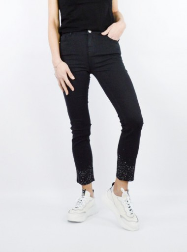 SKINNY TROUSERS WITH STUDS AT THE BOTTOM