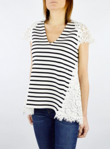 STRIPED T-SHIRT WITH MACRAMÉ LACE