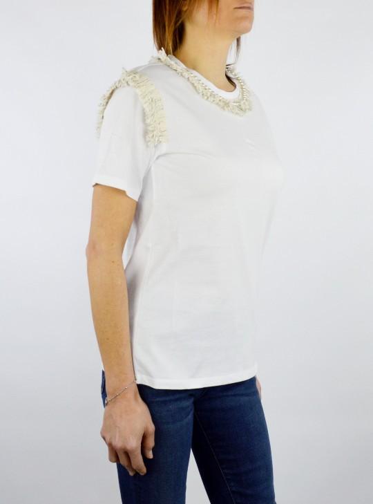Twin Set T-Shirt con Frange e Ricamo di Perle