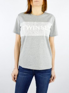 T-SHIRT WITH EMBROIDERED LOGO AND LACE