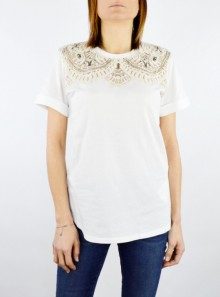 T-SHIRT WITH LACE AND EMBROIDERY
