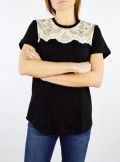 TWINSET Milano T-SHIRT CON PIZZO E RICAMATO - 201TP246A 00006 - Tadolini Abbigliamento