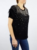 TWINSET Milano T-SHIRT CON TULLE RICAMATO - 201TP2061 00006 - Tadolini Abbigliamento