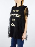 MAXI T-SHIRT WITH GLITTER AND LACE