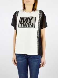 My Twin TWINSET T-SHIRT CON INSERTI IN GEORGETTE - 201MP2353 - Tadolini Abbigliamento