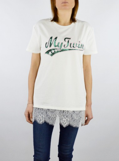 T-SHIRT WITH LACE AND EMBROIDERED SEQUIN LOGO