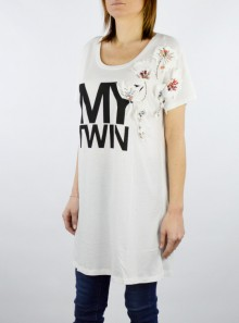 MAXI T-SHIRT WITH EMBROIDERY AND STONE APPLICATIONS