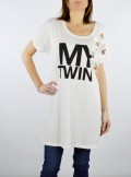 My Twin TWINSET MAXI T-SHIRT CON RICAMI E APPLICAZIONI IN PIETRE - 201MT2302 - Tadolini Abbigliamento