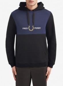 Fred Perry FELPA CON CAPPUCCIO E INSERTO RICAMATO - J8506 - Tadolini Abbigliamento