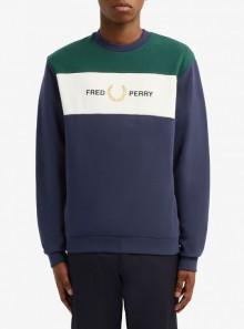Fred Perry FELPA CON INSERTO RICAMATO - M8597 - Tadolini Abbigliamento